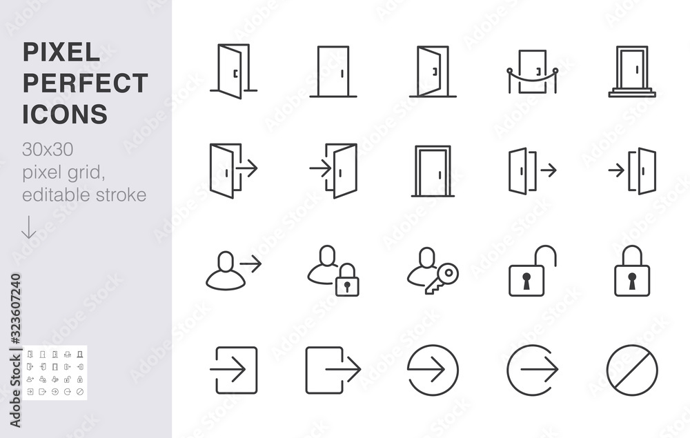 Fototapeta Open door line icon set. Login, logout, register, password, vip entrance, key, lock, exit minimal vector illustrations. Simple outline signs for web application. 30x30 Pixel Perfect. Editable Strokes