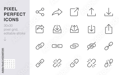 Fototapeta Share button line icon set. Link, broken hyperlink, download, publish, attach chain minimal vector illustrations. Simple outline signs for web application url. 30x30 Pixel Perfect. Editable Strokes obraz