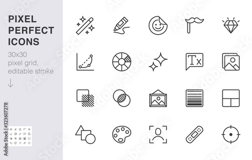 Photo Photo edit line icon set
