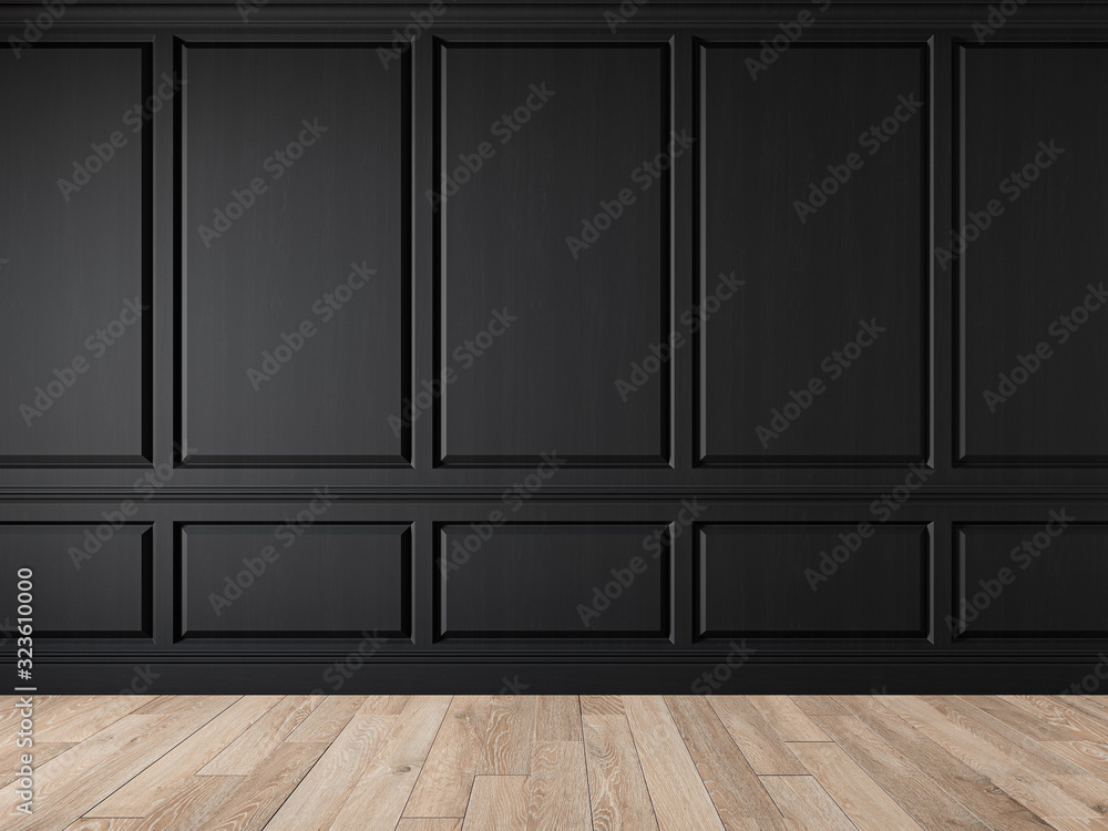 Fototapeta Modern classic black blank wall empty interior with wall panels, molding and wooden floor. 3d render illustration mock up.