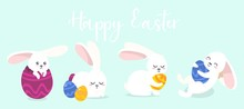 Happy Easter Cute Greeting Card With Bunnies Vector Illustration. Festive Template With White Rabbits With Colourful Eggs Flat Style Design. Handwritten Text. Holiday And Spring Concept