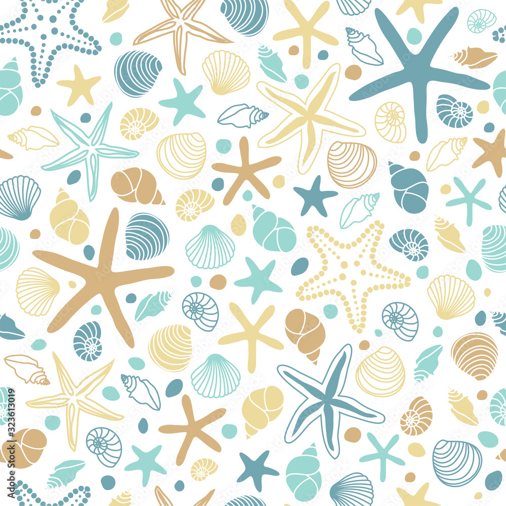 Seamless pattern with hand drawn seashells, neutral colors marine theme in minimal scandinavian style
