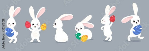 Foto Funny easter rabbits character with eggs set vector illustration