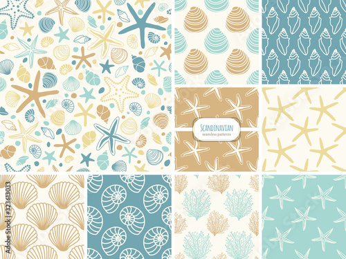Set of seamless patterns with hand drawn seashells, neutral colors marine theme in minimal scandinavian style