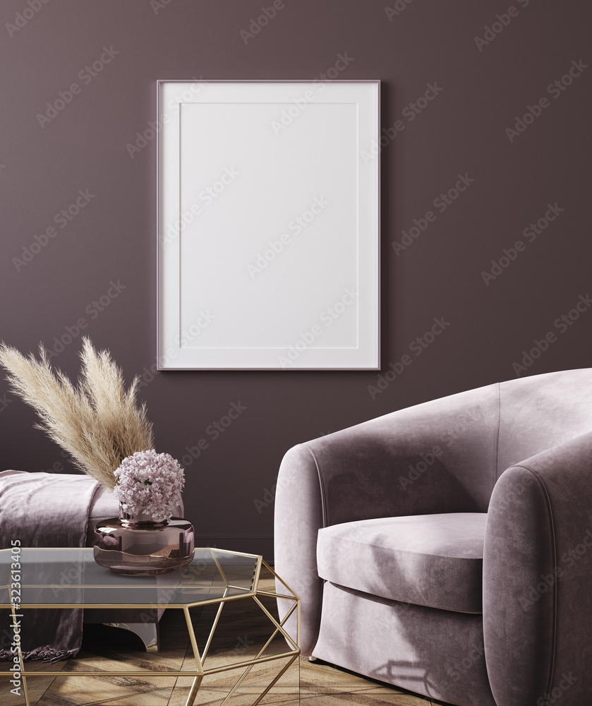 Fototapeta Mockup poster in dark violet monochrome modern living room interior background, 3D render