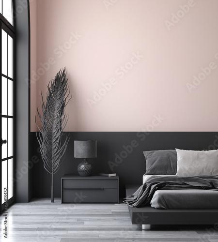 Obraz Minimalist modern bedroom interior background, 3D render - fototapety do salonu