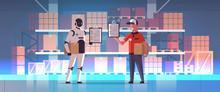 Robotic Postman With Man Couri...