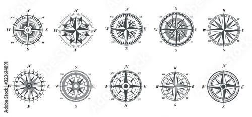 Carta da parati Wind rose compass