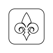 Fleur De Lis Line Icon Isolated On White Background