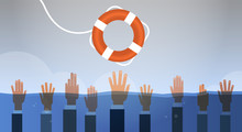 Drowning Businessmen Hands In Water Getting One Lifebuoy Helping Business To Survive Support Rescue Concept Horizontal Vector Illustration