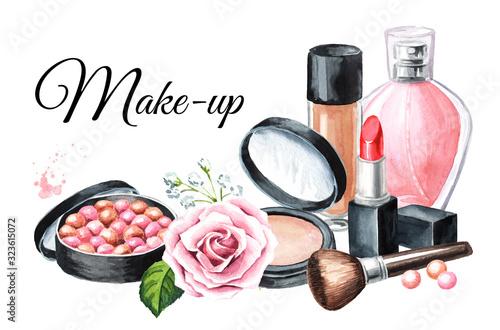 Fototapeta Foundation, powder, mascara, perfume bottle,  Cosmetic powder balls and lipstick. Make-up concept and card. Hand drawn watercolor illustration,  isolated on white background obraz