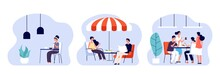 People Eating. Women Man Have Lunch, Breakfast Or Dinner In Different Places. Cafe, Restaurant And Office Dining Room. Dating And Meeting Vector Illustration. Breakfast Dinner In Cafe Or Cafeteria