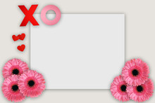 Beige Love Valentine Wedding Concept With Flowers Hearts Kisses And Canvas