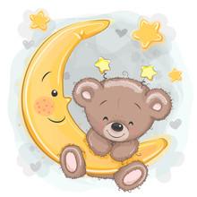 Cartoon Teddy Bear On The Moon