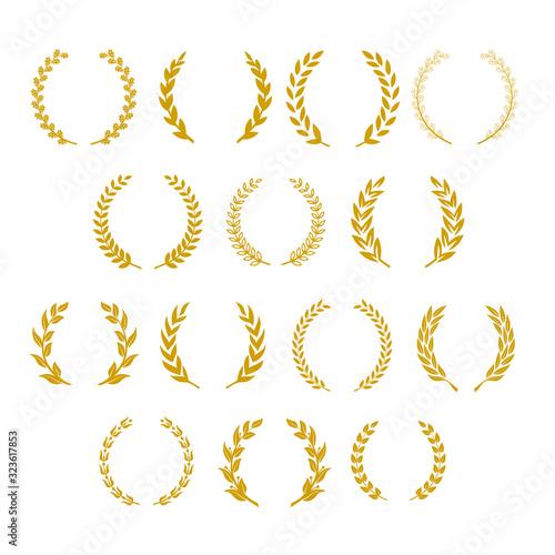 Fotografiet Heraldic wreath symbol on a white background