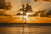 Sunset View Of Yacht Anchored ...