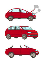 Broken Car Flat Cartoon Vector Illustrations Set. Automobile Breakdown. Vehicle With Open Hood And Steam, Minivan, Cabriolet Isolated, Drawing. Auto Service , Workshop, Repair. Transport Maintenance