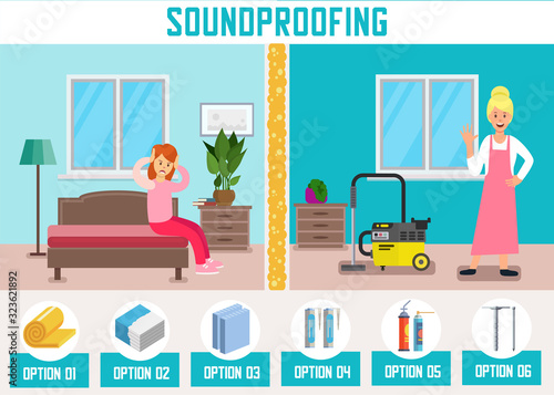 Soundproofing Walls Flat Cartoon Banner Vector Illustartion Canvas-taulu