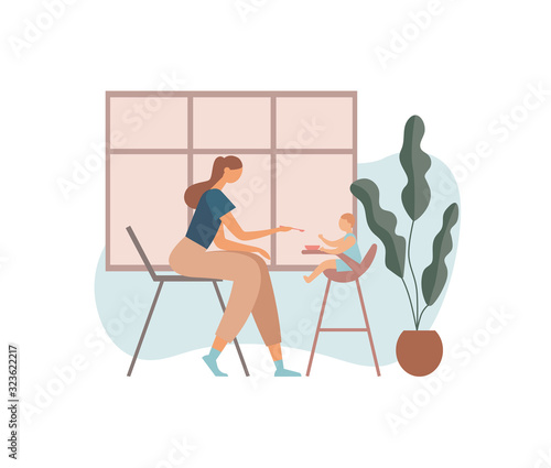 Mother feeding baby in kitchen. Flat vector illustration Tablou Canvas