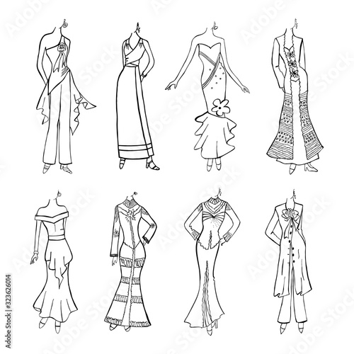 Photo Mannequin Woman Dress Fashion Casual Clothes Model Freehand Sketch illustration