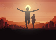 Running Silhouettes. Vector Il...