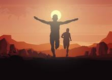 Running Silhouettes. Vector Illustration, Trail Running, Marathon Runner.