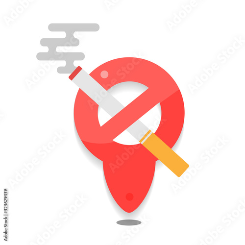 Photo No smoking cigarette and sign, Cigarette icon