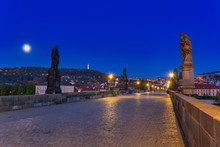 Beautiful Charles Bridge In Prague At Night, Czech Republic