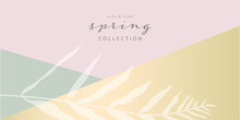 Social Media Banner Template For Advertising Spring Arrivals Collection Or Seasonal Sales Promotion. Trendy Hand Drawn Background Textures And Floral Botanical Elements