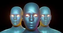 3 Verschiedene, Haarlose Köpfe Junger Frauen, Blau / Bunt, Unterschiedliche Textur Und Strucktur, Golden Schimmernde Augen