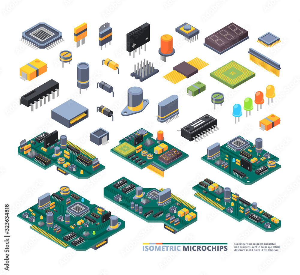 Fototapeta Electrical boards isometric. Hardware items computer power diodes semiconductors and small chip vector equipment set. Illustration hardware isometric electrical, electronic power technology