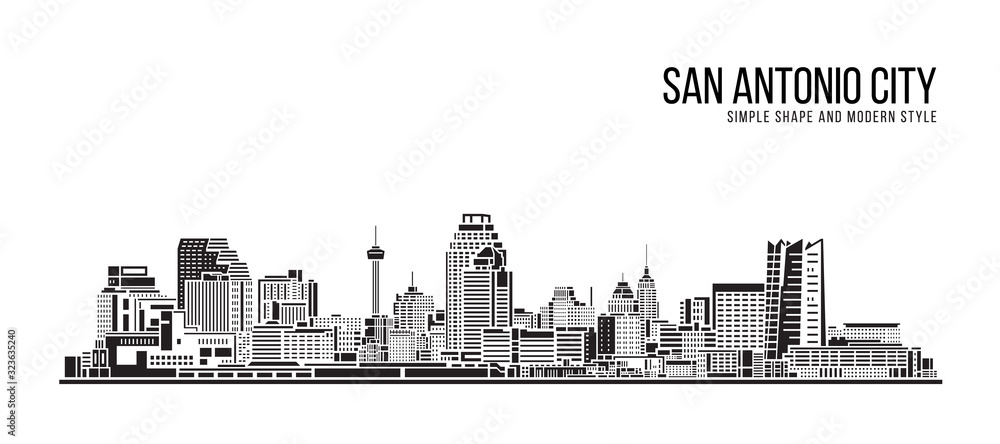 Fototapeta Cityscape Building Abstract Simple shape and modern style art Vector design - San Antonio city
