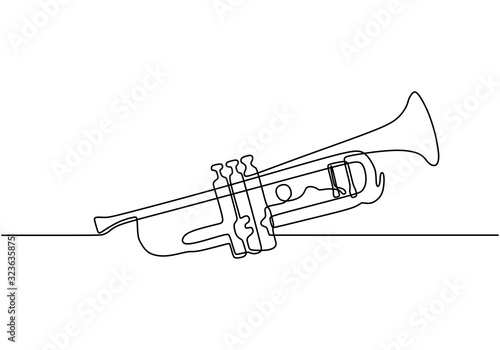 Fotografija Continuous one line drawing of trumpet music instrument