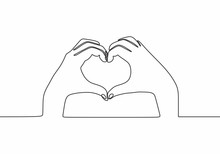 Continuous One Line Drawing. Two Hands Making Love Heart Symbol With Fingers. Minimalism Romantic Design.