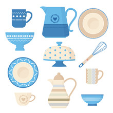 Ceramic Cookware. Kitchen Utensils Trendy Decorative Tools Plating Bowl Handmade Dishes Teapots Cups And Mugs Vector Illustrations. Plate And Dish, Pitcher And Teacup, Pattern Household Mug And Jug