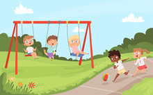Kids Swing Rides. Outdoor Happy Walking And Playing Childrens Nature Camp Vector Cartoon Background. Play Swinging Ride, Swing Childhood Happiness Illustration