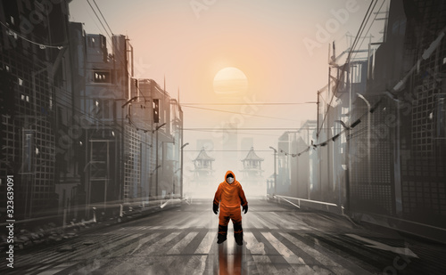 Digital illustration painting design style a man wearing Hazmat Suit, mask and standing in abandonded town, against sunset.