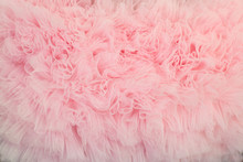Textured Background Of Ruffled Wavy Fabric Pastel Colour- Pink.