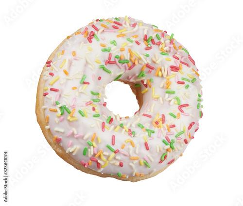 Fototapeta glazed round donut with sprinkles isolated. Side view obraz