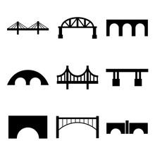 Bridge Set Icon, Logo Isolated On White Background