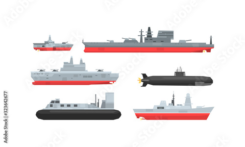 Naval Combat Ships Collection, Military Boat, Frigate, Battleship and Submarine Tapéta, Fotótapéta