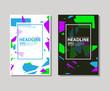 Set of trendy flat geometric brochure. Vivid transparent banners in retro poster design style.