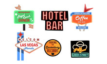 Retro Signs Collection, Vintage Billboards, Signboards, Light Banners Vector Illustration