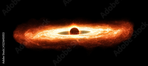 Supermassive Black Hole With Hot Accretion Disk Canvas Print