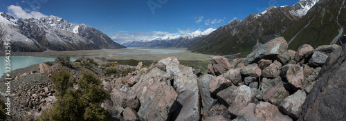 Mount Cook Tasman River New Zealand panorama rocks moutains