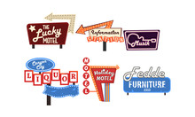 Retro Signs Collection, Vintage Bright Billboards, Signboards, Light Banners Vector Illustration