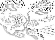 Old Map Retro Graphic Black White Sketch Illustration Vector