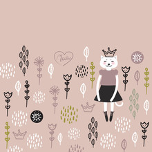 Funny Kawaii Cat Girl In Dress...