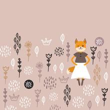 Funny Kawaii Fox Girl In Dress...