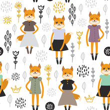 Seamless Pattern Funny Kawaii Fox Girl In Dress, Cartoon Flowers Green Lilac Black White Background. Can Be Used For Greeting Card, Fashion Print For Baby Clothes Gift Wrap, Fabrics, Wallpaper. Vector